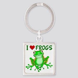 I  Love (Heart) Frogs Square Keychain